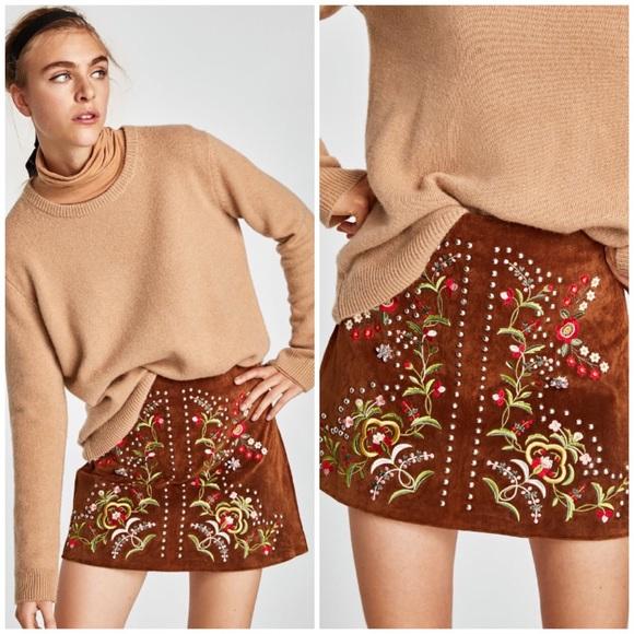 a8b11df90 Zara Skirts | Brown Genuine Leather Embroidered Mini Skirt | Poshmark